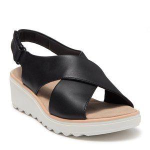 Clarks Jillian Jewel Wedge Black Leather Sandals